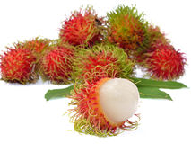 Rambutan with leaves isolated on white background. Rambutan with leaves isolated on a white background Royalty Free Stock Photos