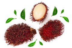 Rambutan with leaves isolated on white background. Tropical fruit. Nephelium lappaceum. Top view. Flat lay royalty free stock image