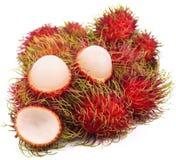 Rambutan lokalisiert auf dem weißen Hintergrund stockfotografie