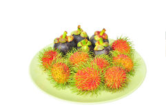 Rambutan and mangosteen Royalty Free Stock Photo