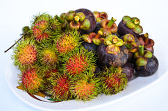 Rambutan and mangosteen isilated on white background Royalty Free Stock Image