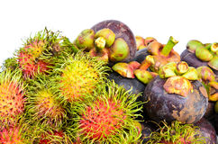 Rambutan and mangosteen isilated on white background Stock Image