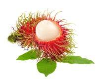 Rambutan mit den Blättern lokalisiert auf weißem Hintergrund Stockfotos