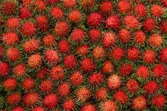 Rambutan nel mercato della Tailandia, frutta deliziosa dolce Fotografia Stock