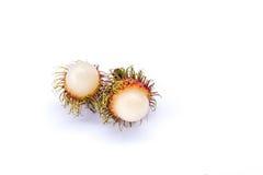 Rambutan op witte achtergrond Stock Afbeeldingen