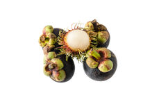 Rambutan. Is placed on mangosteen Royalty Free Stock Photo