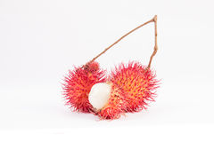 Rambutan. Ripe rambutan, southeast Asian hairy fruit Stock Image