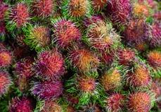Rambutan Söt exotisk tropisk frukt Frukt Asien Vietnam, matmarknad arkivbilder