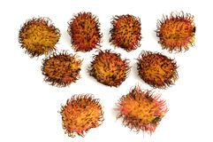 Rambutan sobre o branco Fotos de Stock Royalty Free
