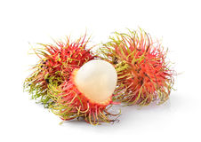 Rambutan sweet delicious fruit  isolated on white backgrou Royalty Free Stock Photo
