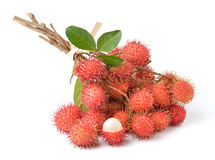 Rambutan sweet delicious fruit. Isolated on white background Royalty Free Stock Photos