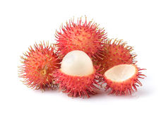 Rambutan sweet delicious fruit. Isolated on white background Royalty Free Stock Images