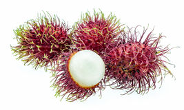 Rambutan sweet delicious fruit isolated on white background. Rambutan sweet delicious fruit isolated on white background Royalty Free Stock Photo