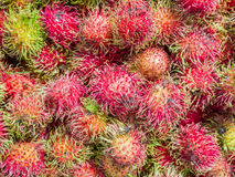 Rambutan sweet delicious fruit. In the market Stock Photos