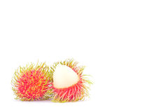 Rambutan sweet delicious on white background healthy rambutan tropical fruit food isolated Royalty Free Stock Photos