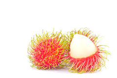 Rambutan sweet delicious on white background healthy rambutan tropical fruit food isolated Royalty Free Stock Photo