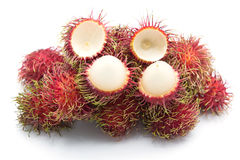 Rambutan sweet fruit isolated on white background. Rambutan sweet delicious fruit isolated on white background Stock Images