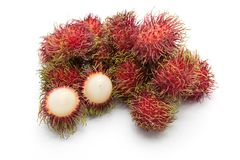 Rambutan sweet fruit isolated on white background. Rambutan sweet delicious fruit isolated on white background Stock Photos