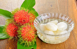 Rambutan in syrup Royalty Free Stock Image