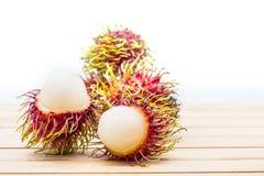 Rambutan, Thai fruit. Rambutan, Negrito, Semang, sweet Thai fruit, isolated on white Stock Photos