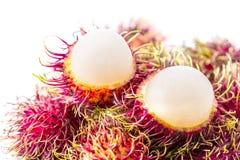 Rambutan, Thai fruit. Rambutan, Negrito, Semang, sweet Thai fruit isolated on white background Royalty Free Stock Photography