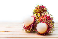 Rambutan, Thai fruit. Rambutan, Negrito, Semang, sweet Thai fruit, isolated on white background Royalty Free Stock Photos