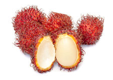 Rambutan, Tropical Fruit. On white background Stock Images