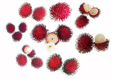 Rambutan Tropical Fruit. Delicious and sweet fresh rambutan. Rambutan (Nephelium lappaceum) is a tropical fruit native to Philippines, Malaysia and other regions Stock Photography