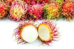 Rambutan tropical fruit. On white background Stock Image