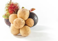 Rambutan und Longkong mit Mangostanfrucht sind südlicher Asiat f der Frucht Lizenzfreies Stockbild