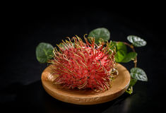 Rambutan with vanilla on wooden plate isolated on the black   background. Stock Images
