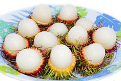 Thailand fruit. The rambutan was placed in the dish Stock Images