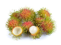 Rambutan on white background. Rambutan on a white background Stock Image