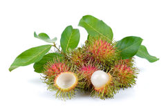 Rambutan on white background. Rambutan on a white background Royalty Free Stock Photo