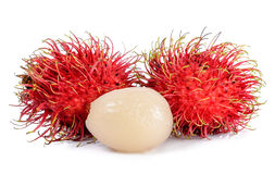 Rambutan  on the white background.  Stock Photos