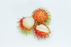 Rambutan on white background closeup detail.  Stock Photos