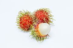 Rambutan on white background. Isolated Royalty Free Stock Photo
