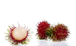 Rambutan on white background. New rambutan on white background royalty free stock image