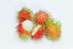 Rambutan on white background. Detail Stock Images