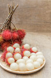 Rambutan. In wooden dish on wood table Stock Images