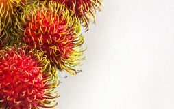 Rambutans. The ripe rambutans on white background Royalty Free Stock Photography