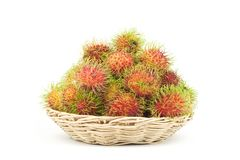 Rambutans in a basket Royalty Free Stock Images