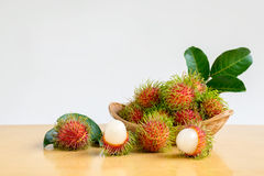 Rambutans basket Royalty Free Stock Image