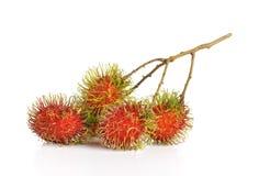 Rambutans fruit with leaf on white background. Rambutans fruit with leaf on white background Royalty Free Stock Photo