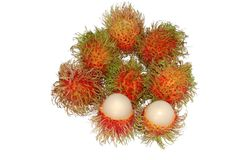 Rambutans or hairy fruits. Hairy fruits isolated on white Stock Photography