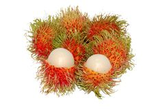 Rambutans or hairy fruits. Hairy fruits isolated on white Royalty Free Stock Image