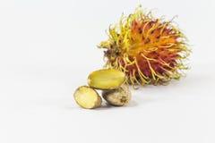 Rambutans kärnar ur, läcker thailändsk frukt Arkivfoton