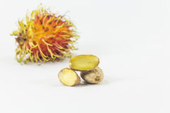 Rambutans kärnar ur, läcker thailändsk frukt Royaltyfri Foto