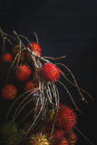 Rambutans. On the old dark background Royalty Free Stock Image