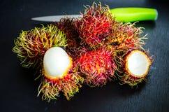 Rambutans ripe tropical fruits. Studio Photo Stock Photos